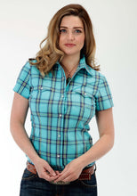 Ladies Amarillo Collection- Prairie Wind Amarillo Womens Short Sleeve Shirt 0831 Sea Ombre Plaid