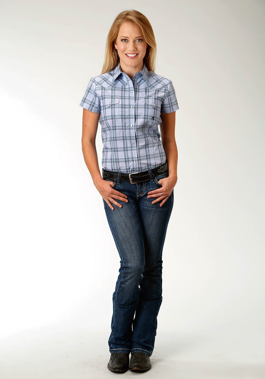 Ladies Amarillo Collection- Agate Stone Amarillo Womens Short Sleeve Shirt 1522 Coal Creek Check
