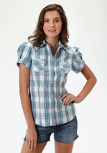 Ladies Amarillo Collection- Aquamarine Amarillo Womens Short Sleeve Shirt 0397 High Wire Plaid