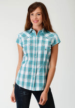 Ladies Amarillo Collection- Sage Trail Amarillo Womens Short Sleeve Shirt 1672 Jade Plaid