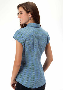 Ladies Amarillo Collection- Summer Picnic Amarillo Womens Short Sleeve Shirt 0394 Circle Square Geo