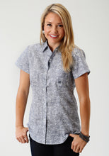 Ladies Amarillo Collection- Route 66 Amarillo Womens Short Sleeve Shirt 1684 Navy Line Paisley