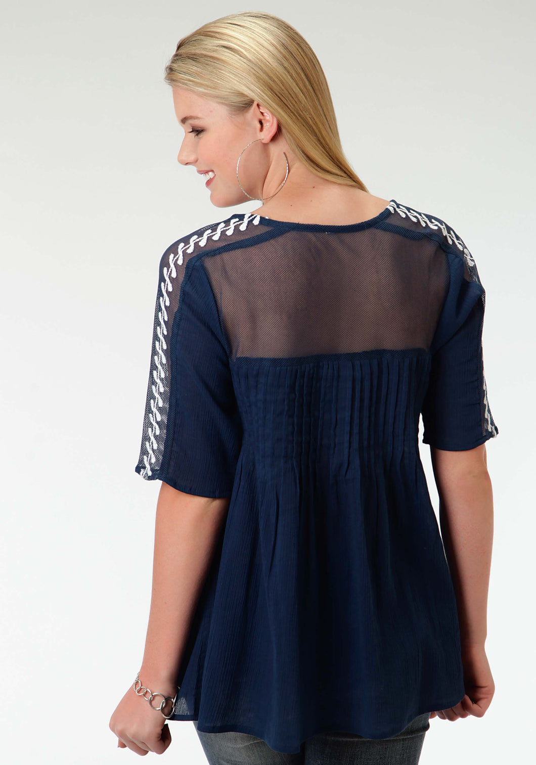 Studio West- Blue Gypsy Swest Womens Short Sleeve Shirt 0895 Cotton Crepe Tucked Blouse