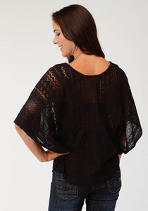 Studio West- Garden Paradise Swest Womens Short Sleeve Shirt 1811 Allover Lace Kimono Top