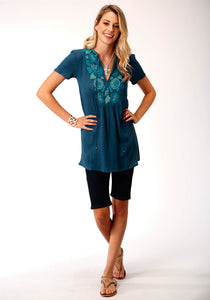 Studio West- Summer Solstice Swest Womens Short Sleeve 00177 Rayon Crepe Short Sleeve Tunic