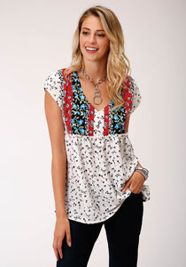 Studio West- Wild Blossoms Swest Womens Short Sleeve 00223 Poly Crepe Border Print Top