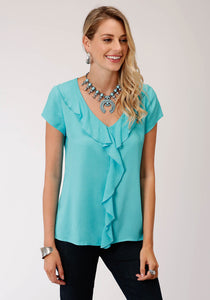 Studio West- Summer Solstice Swest Womens Short Sleeve 00176 Rayon Challis V-neck Top