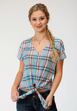 Five Star Collection- Summer I 5star Womens Short Sleeve 6576 Coral Glow Plaid Ss Blouse