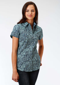 Ladies Amarillo Collection- Lucky Clover Amarillo Womens Short Sleeve Shirt 0974 Silver Spur Paisley