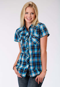 Performance Collection Westm Womens Short Sleeve Shirt 0995 Blue Mesa Plaid