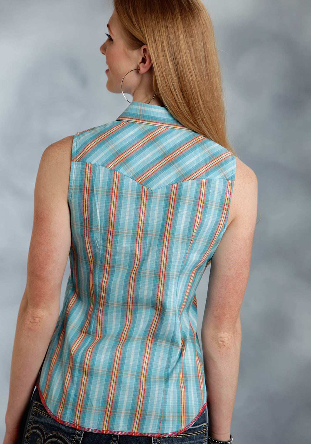 Performance Collection- Spring I Westm Ladies Sleeveless Shirt 0190 Ombre Dobby Plaid