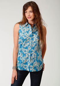 West Made Collection Westm Womens Sleeveless Shirt 1744 Tropical Plaid