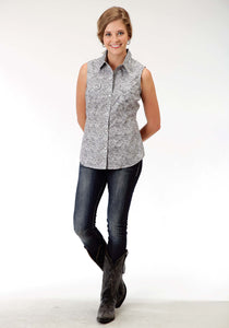 Ladies Amarillo Collection- Crossfire Amarillo Womens Sleeveless Shirt 0839 Fossil Paisley Print