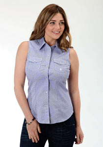 Ladies Amarillo Collection- Bridle Path Amarillo Womens Sleeveless Shirt 0835 Ice Crystals Print