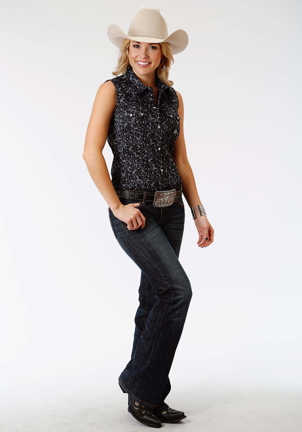 Ladies Amarillo Collection- Black Jack Amarillo Womens Sleeveless Shirt 0973 Stipple Paisley