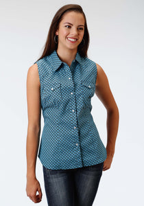 Ladies Amarillo Collection- Sundown Amarillo Womens Sleeveless Shirt 0976 Bias Geo