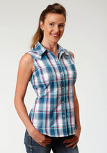 Ladies Amarillo Collection- True Blue Amarillo Womens Sleeveless 3337 Loyal Plaid