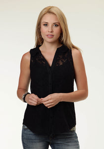 Studio West- Floral Fantasy Swest Ladies Sleeveless Shirt 0352 Allover Lace Slvls Blouse