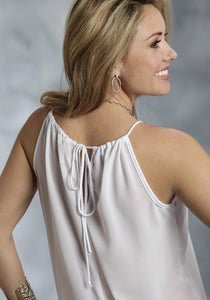 Studio West- Fashion Tribe Swest Ladies Sleeveless Shirt 9610 Solid Georgette Halter Tank