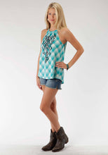 Five Star- Turquoise Cove 5star Womens Sleeveless Shirt 0423 Ombre Plaid Halter Neck Top