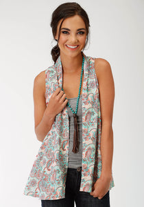 Five Star- Spring Iii Stetson Womens Sleeveless Shirt 1598 Paisley Prt Rayon Slvls Cardigan