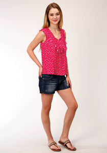 Five Star Collection- Summer I 5star Womens Sleeveless 00164 Arrow Prt Rayon Slvls Blouse