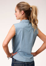 Five Star Collection- Spring Iii 5star Womens Sleeveless 00123 Slvls Denim Western Shirt