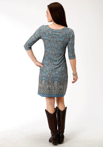 Studio West Collection- Autumn Meadow Swest Womens Long Sleeve Dress 9501 Border Prt Poly Span Jersey Dress