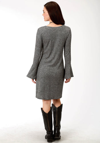 Studio West Collection- Native Arts Swest Womens Long Sleeve Dress 9499 Heather Blk Ribknit A-line Dress