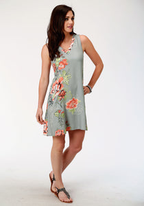 Studio West- Southern Blooms Swest Womens Long Sleeve Dress 00109 Printed Rayon Slvls Shift Dress