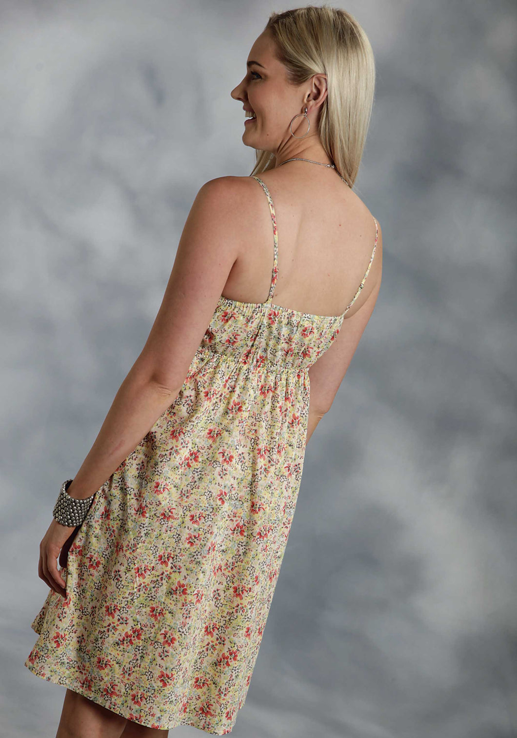 Five Star- Wild Flowers 5star Ladies Sleeveless Dress 9756 Coral Ditsy Floral Prt Sun Dress