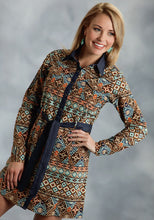 Five Star- Folktale 5star Ladies Long Sleeve Dress 9902 Aztec Printed Poplin Shirt Dress