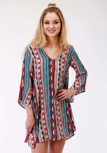 Five Star- Fall Iii 5star Womens Long Sleeve Dress 1374 Aztec Stripe Printed Rayon Dress