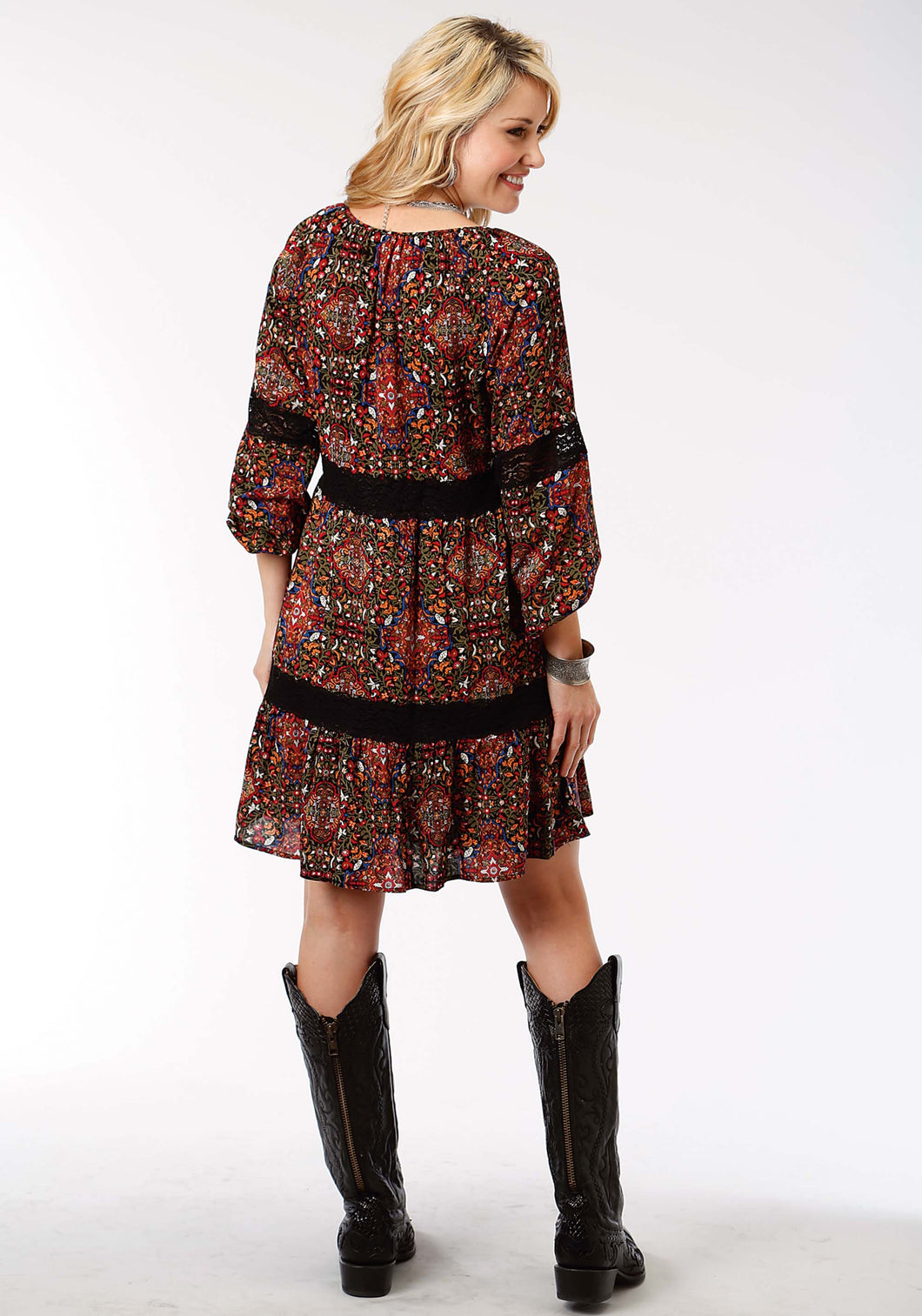 Studio West- Fiery Spirit Swest Womens Long Sleeve Dress 1295 Printed Rayon Peasant Tunic Dress