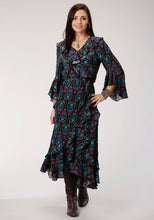 Studio West- Jewel Box Swest Womens Long Sleeve Dress 00365 Prt Poly Wrap Dress