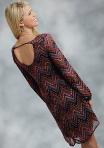 Studio West- Nomadic Heart Swest Ladies Long Sleeve Dress 9905 Aztec Prt Georgette A-line Dress