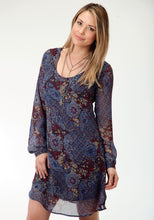 Studio West- Out Of The Blue Swest Womens Long Sleeve Dress 0532 Blue Paisley Collage Print Dress