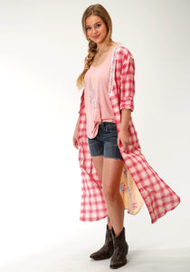Five Star Collection- Spring I 5star Womens Long Sleeve Dress 2752 Pink Plaid Long Slv Shirt Dress