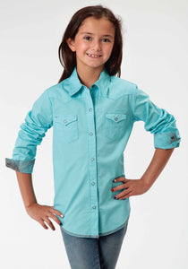 Performance Collection Westm Girls Long Sleeve Shirt 00456 Solid Poplin - Aqua