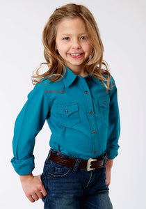 Performance Collection Westm Girls Long Sleeve Shirt 1273 Solid Poplin - Jewel Blue