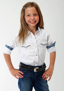 West Made Collection Westm Girls Long Sleeve Shirt 1540 Solid Poplin - White