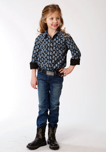 Girls Amarillo Collection- Crystal Blue Amarillo Girls Long Sleeve Shirt 1269 Formation Paisley