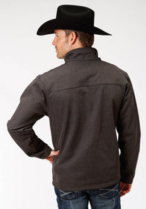 Roper Outerwear- Men's Outer Mens Jacket 9429 Grey Textured Wblack Fleece