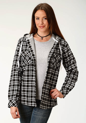 Outer Womens Jacket Flannel Knit Lined Hooded Shirt