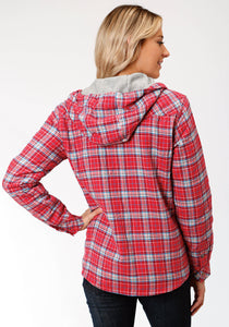 Outer Womens Jacket 4015 Coralbluewhite Flannel Plaid