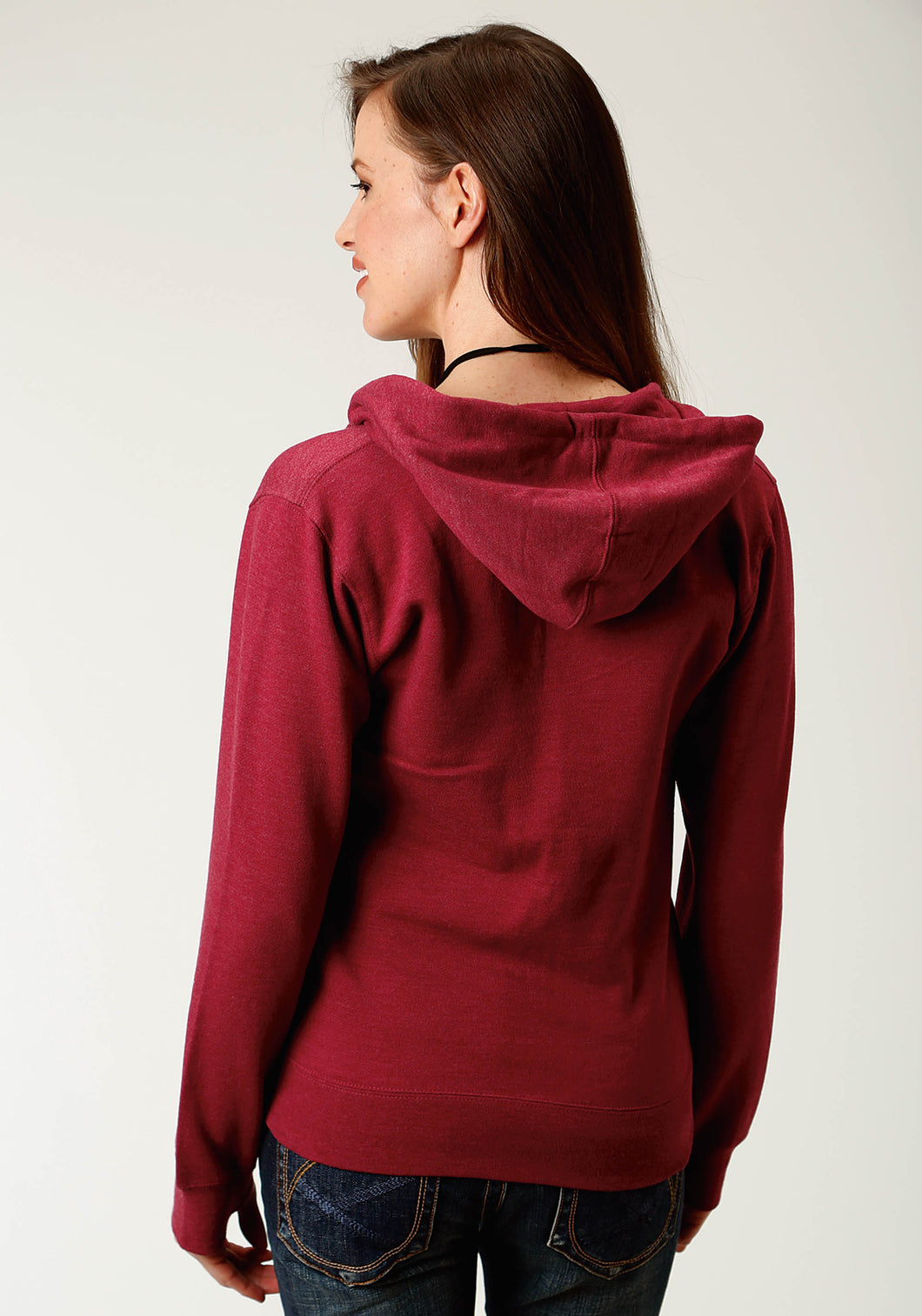 None Womens Jacket Cranberry Heather Zipper Front Hoodie