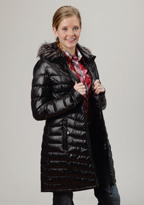 Roper Outerwear- Ladies Outer Womens Jacket 0702c1 Black - Long Wdetachable Hood