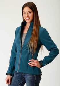 Roper Outerwear- Ladies Outer Womens Jacket Bonded Softshell Wblack Fleece Jacket