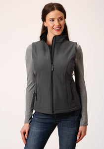 Roper Outerwear- Women's Outer Womens Vest 00428 Heathered Gy Softshell Vest