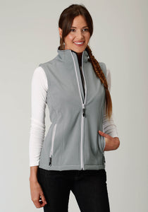 Roper Outerwear- Ladies Outer Womens Vest Bonded Softshell Wlt Gy Fleece Vest